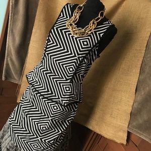 Worthington Geometic Peplum Midi Dress